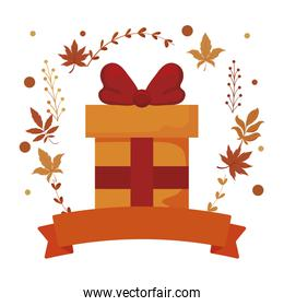 Isolated gift and autumn leaves vector design