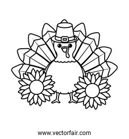 Turkey of thanksgiving day vector design