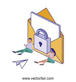 Envelope padlock and people of security system vector design