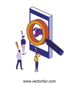 Smartphone people and lupe of security system vector design