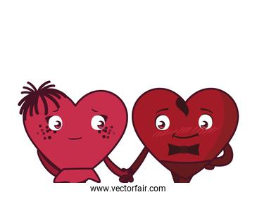 Female and male hearts couple cartoons vector design