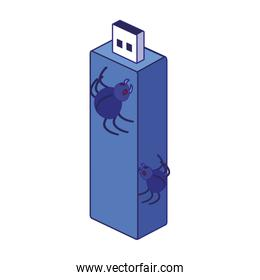 Usb and spiders of security system vector design
