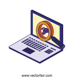 Laptop and lupe of security system vector design