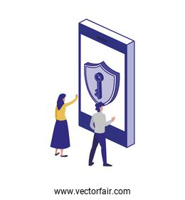 Smartphone and people of security system vector design
