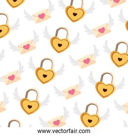 pattern of heart shaped padlock and envelope with wings