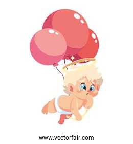 cute cupid angel with helium balloons on white background