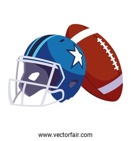 helmet and ball american football on white background