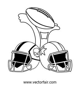 american football award with helmets on white background