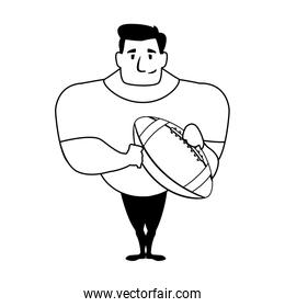 man holding a american football ball on white background