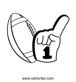 american football ball with hand glove on white background