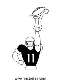 american football player holding a award on white background