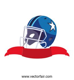 american football helmet with ribbon on white background