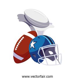 set of icons american football on white background