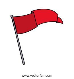 flag waving on a stick in white background