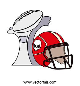 american football award with helmet on white background