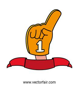 hand glove with number 1 fan, yellow foam finger