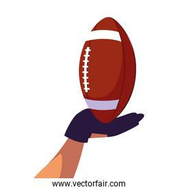hand holding american football ball on white background
