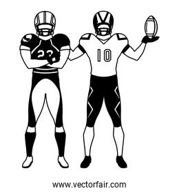 men players american football on white background