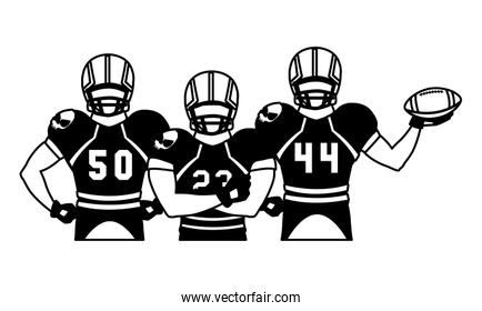 team of players american football , sportsmen with uniform