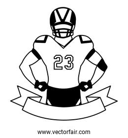 man player american football with ribbon on white background