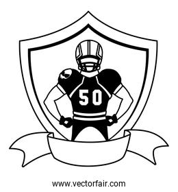 man player american football with shield