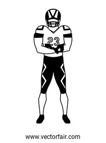 man team player american football with uniform on white background