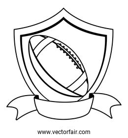 american football ball in shield with ribbon