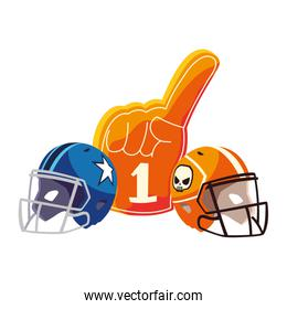 american football helmets and hand gloves on white background