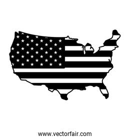 united states map with flag on white background
