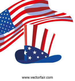hat in american flag colors on white background