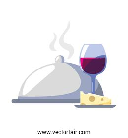 wine glass with piece of cheese and tray server on white background