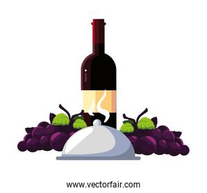 bottle wine with grapes and tray server on white background