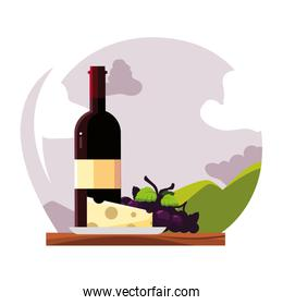 wine bottle with cheese and grapes on background landscape