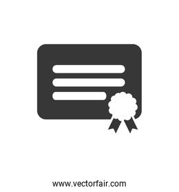 Isolated graduation certificate silhouette style icon vector design