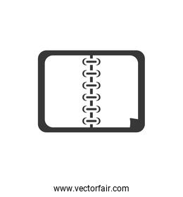 Isolated school notebook silhouette style icon vector design