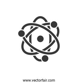 Isolated chemistry atom silhouette style icon vector design