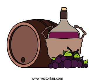 bottle of wine in wicker basket and grapes on white background