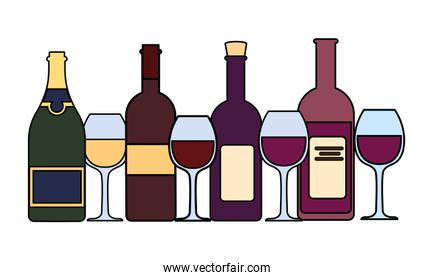 set of wine bottle with wineglass on white background