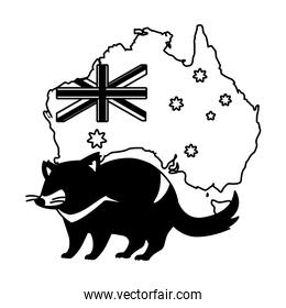 tasmanian devil with map of australia in the background