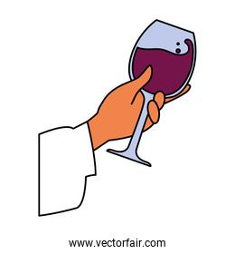 hand holding a glass of wine on white background