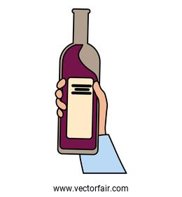 hand holding a bottle wine on white background