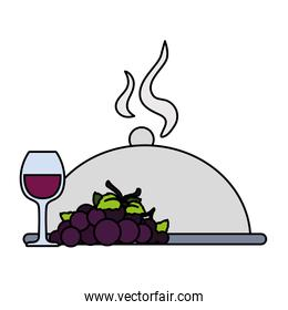 wine glass with grapes and tray server on white background