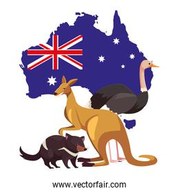 animals of australia with map of australia in the background
