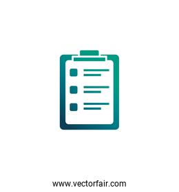 clipboard with paper sheet, gradient style icon