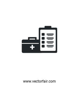 first aid kit medical and clipboard , silhouette style icon