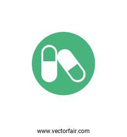 medical pills, block and flat style icon