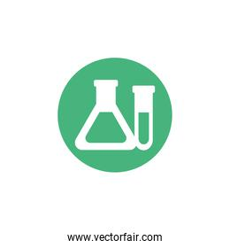 chemical laboratory test tubes, block and flat style icon