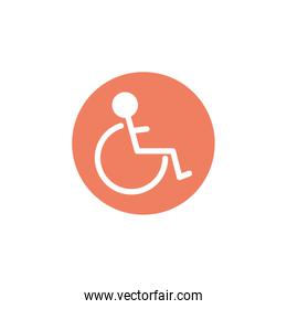 wheelchair for disabled, block and flat style icon