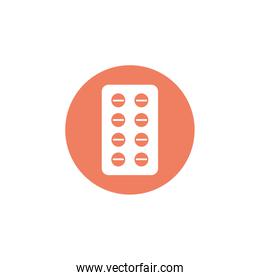 tablets medical pills, block and flat style icon