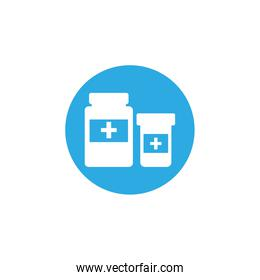 bottle of pills, block and flat style icon